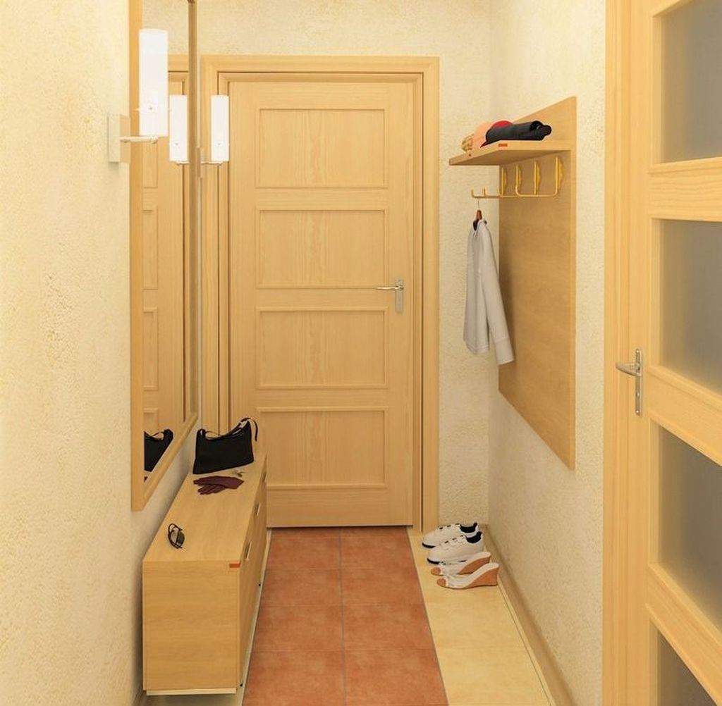 Для отделки небольшого коридора хорошо подойдут моющиеся обои и декоративная штукатурка