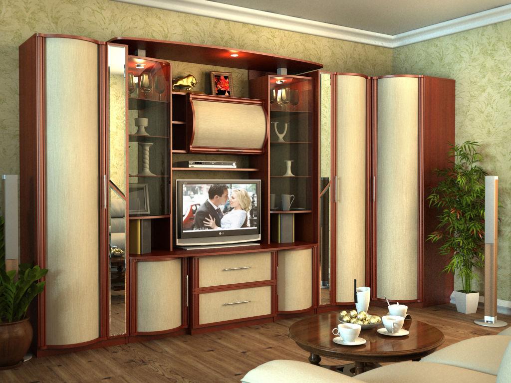 Традиционно устанавливается шкаф-стенка в гостиную комнату, так как она обычно самая большая по площади