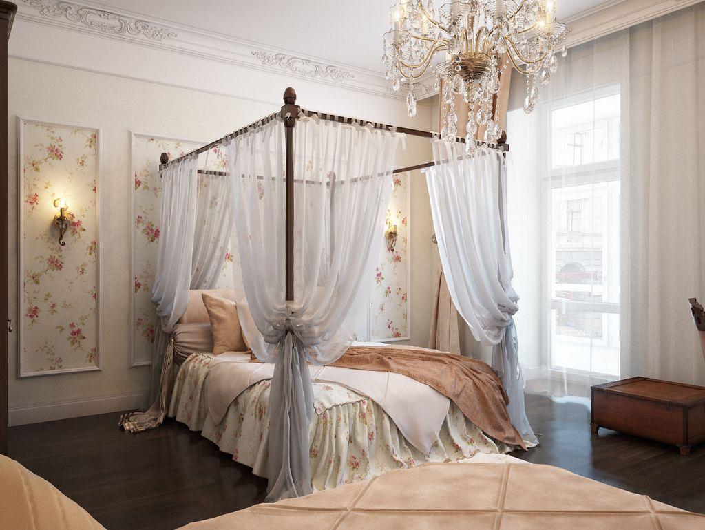 Особенную нежность бежевой спальне придает пастельный балдахин над кроватью