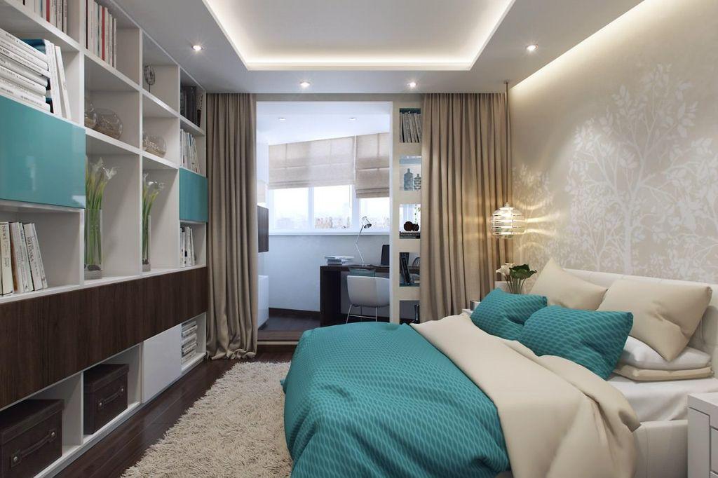 Разделить рабочую и спальную зону можно с помощью шторы