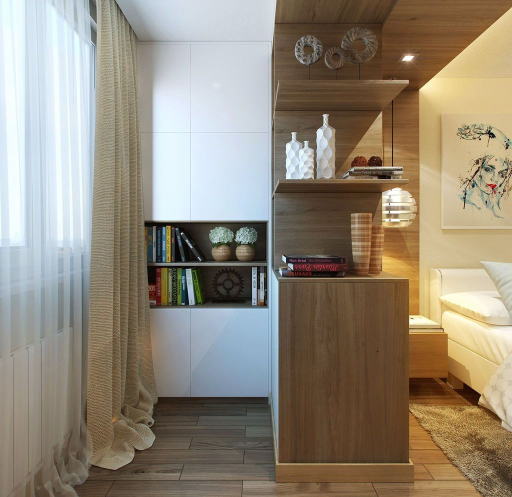 Дополнительное пространство балкона позволяет разместить там мебель для хранения