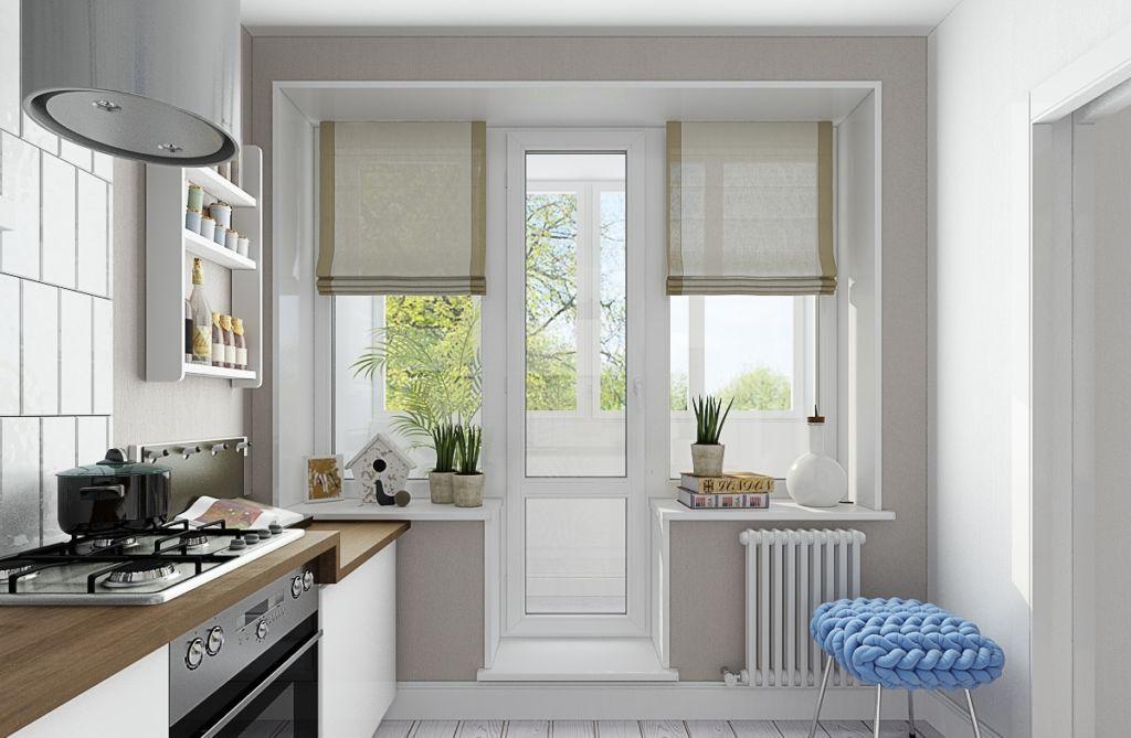 Оформление такого окна обязано быть практичным и не делать сложным выход на балкон