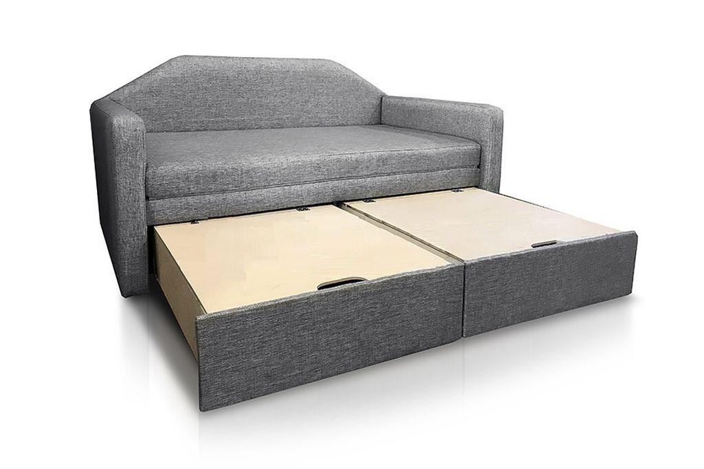 Внутри выкатной тахты можно хранить одеяло и подушки