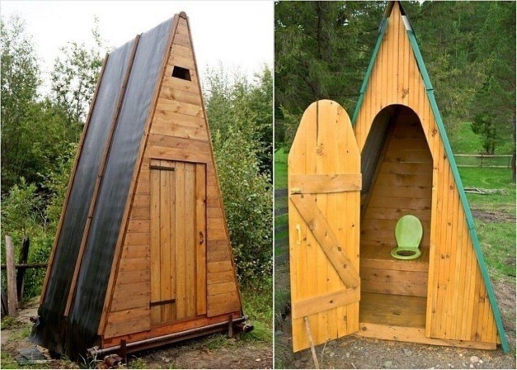 Очень популярны туалеты в форме шалаша