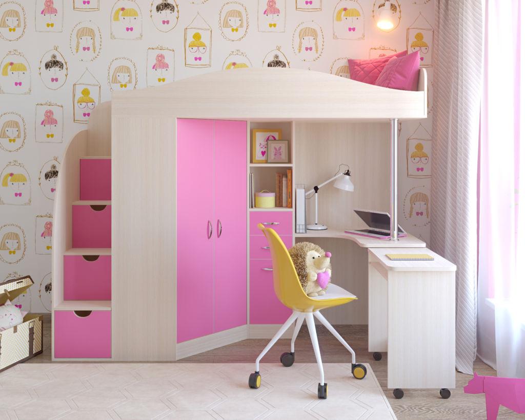 На нижнем ярусе можно расположить шкаф для одежды и стол