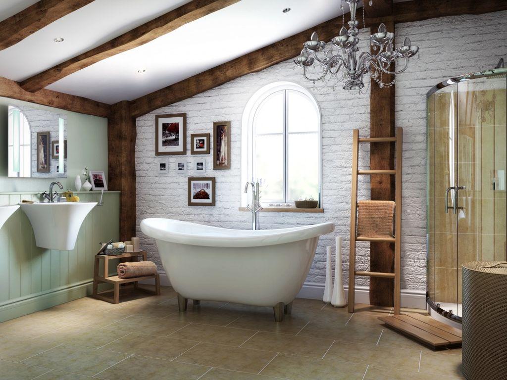 На мансардной ванне можно эффектно оформить балки и стену под кирпичную кладку