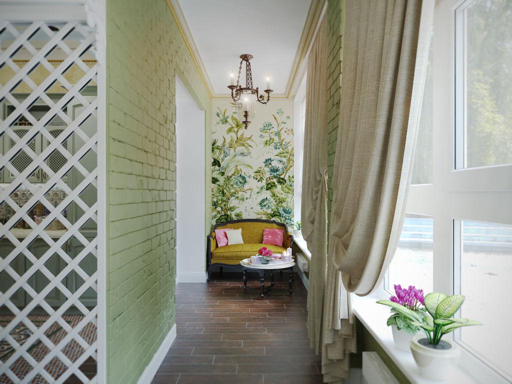 Вариант оформления балкона с зеленой кирпичной кладкой