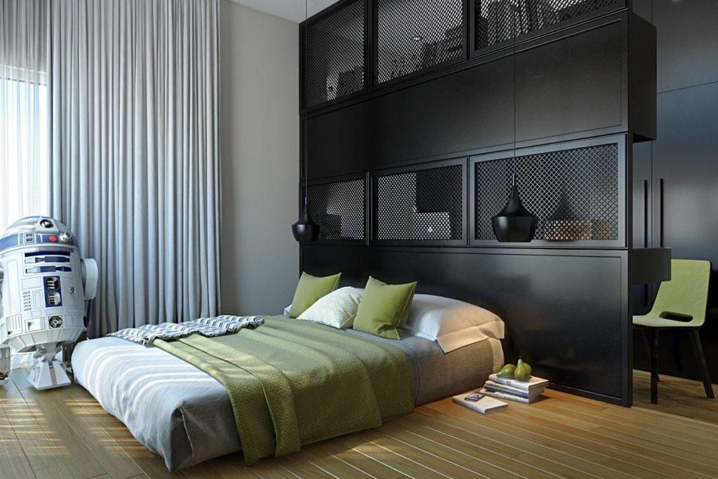 Великолепный дизайн спальни с темной мебелью