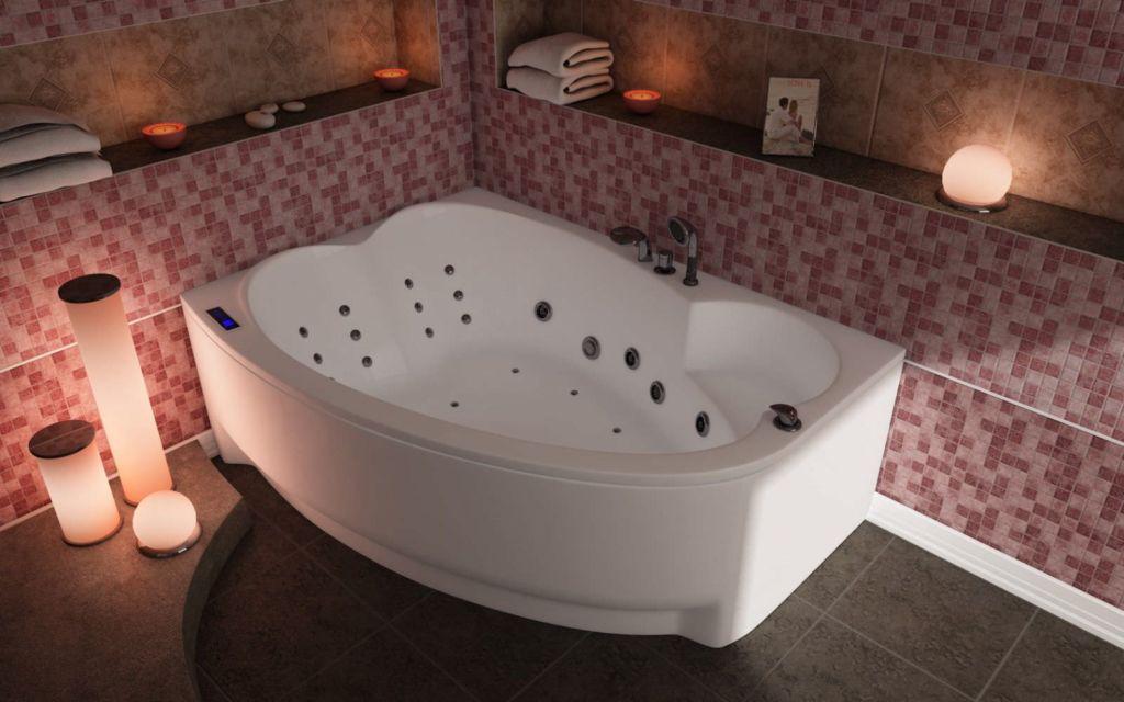 Угловая ванна устанавливается впритык к двум стенам в углу ванной комнате