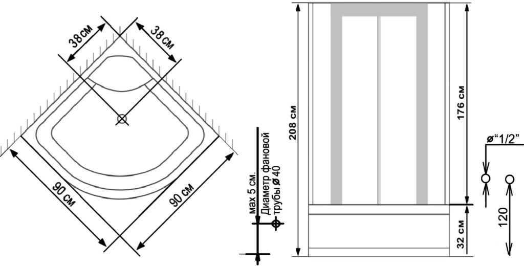 Высота душевой кабины рассчитывается по параметрам комнаты с учетом установленных коммуникаций