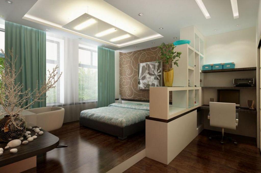 Зонирование спальни при помощи стеллажей