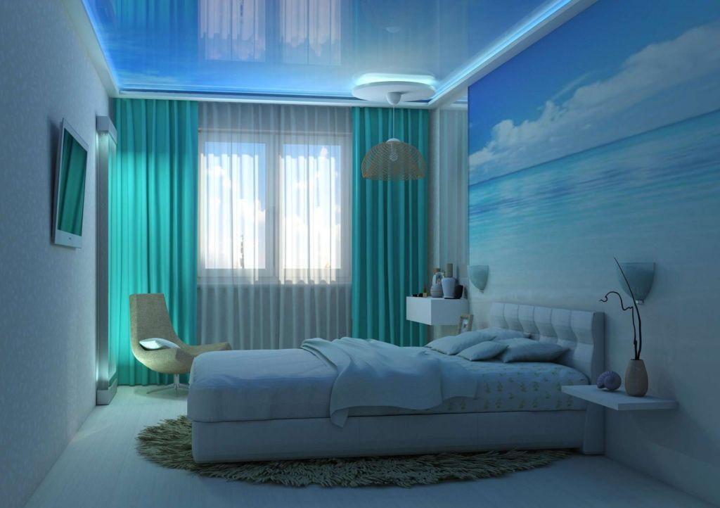 Бирюзовая спальня хай тек