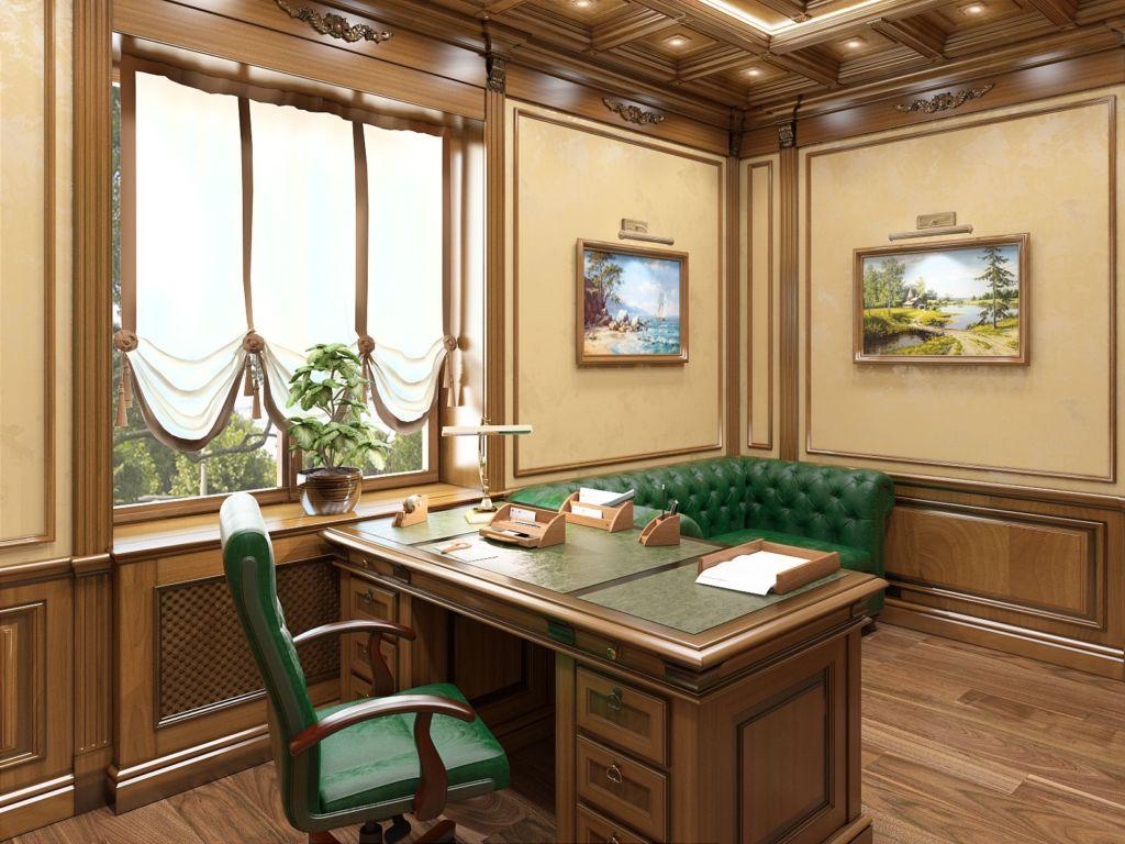 Светло коричневые австрийские шторы в светлый кабинет