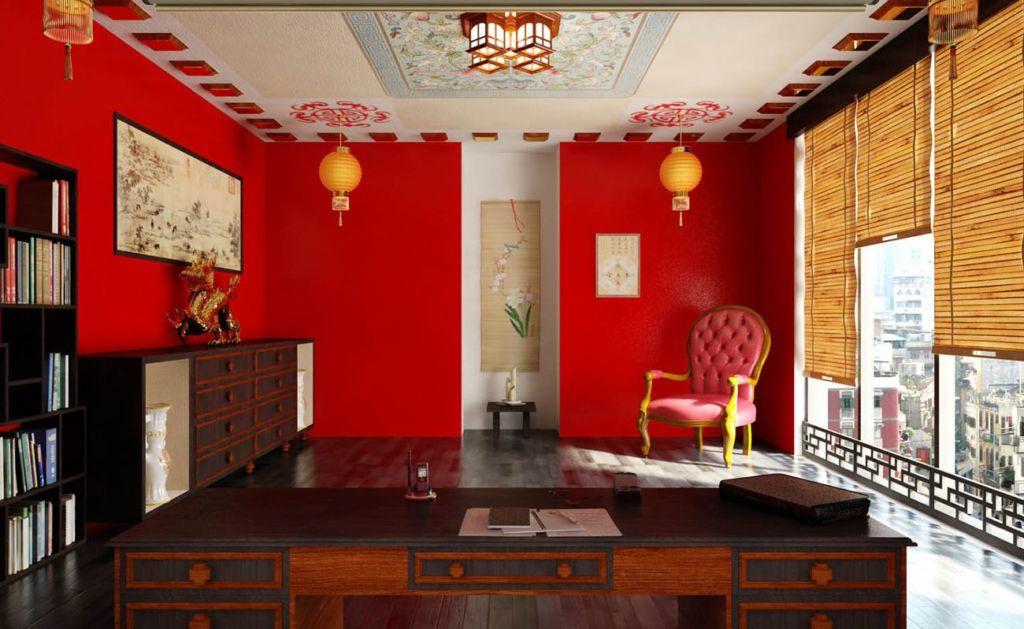 Рулонные шторы в этническом стиле в красный кабинет