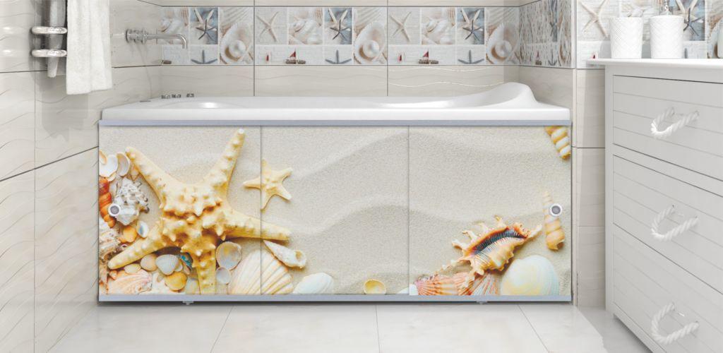 Торцевые экраны закрывают переднюю часть пространства под ванной, изготавливаются из пластика, ПВХ, алюминия или других легких металлов