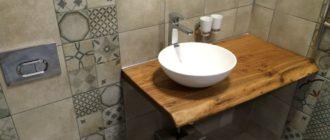 Плюсы и минусы деревянной столешницы под раковину в ванную