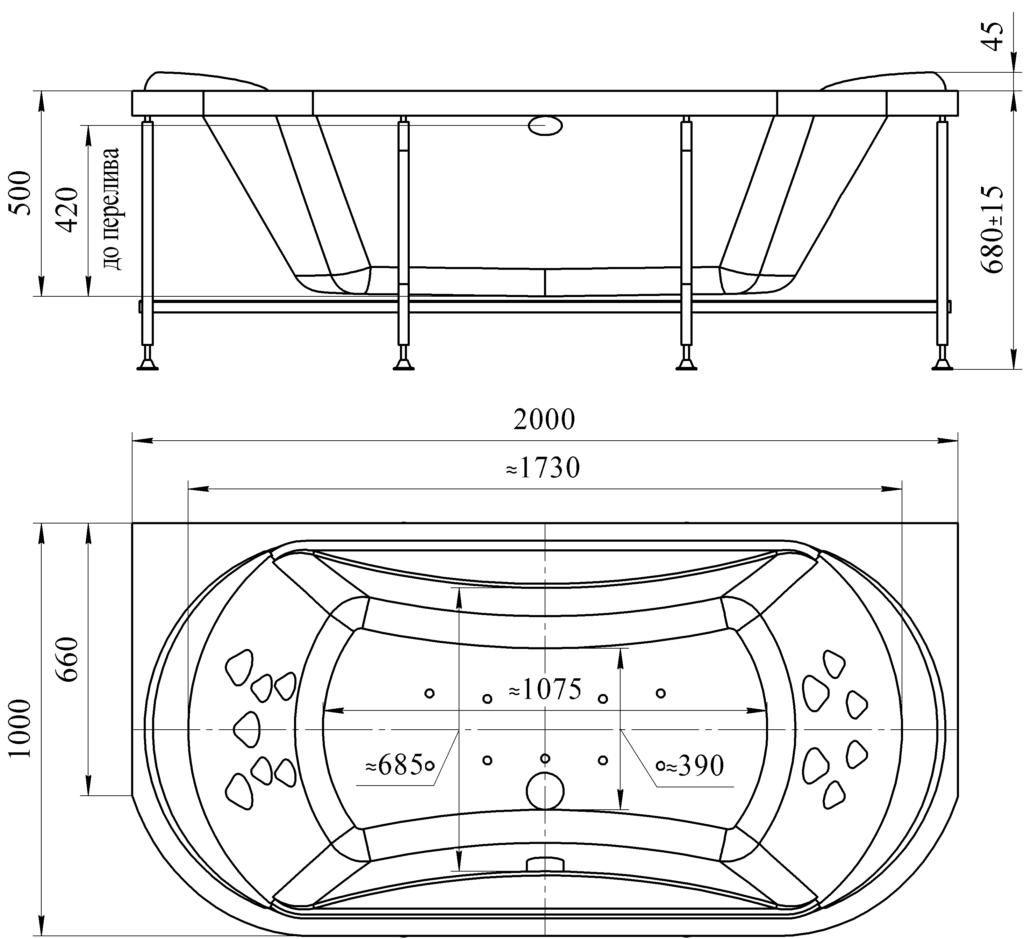 Стандартные размеры акриловой ванны с учетом каркаса