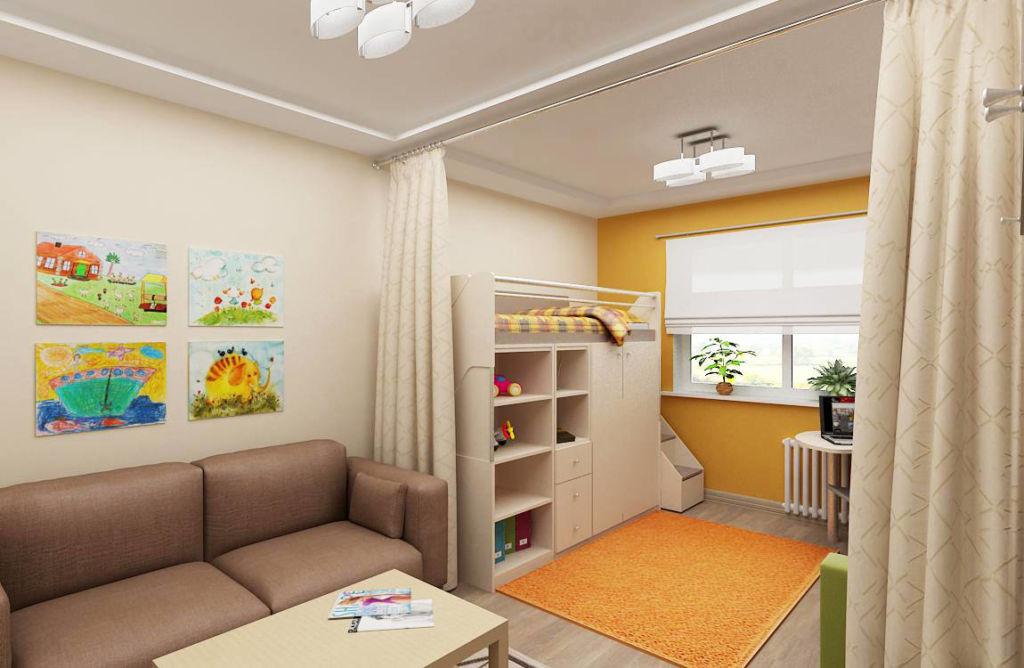 Детская в гостиной: разделение шторами