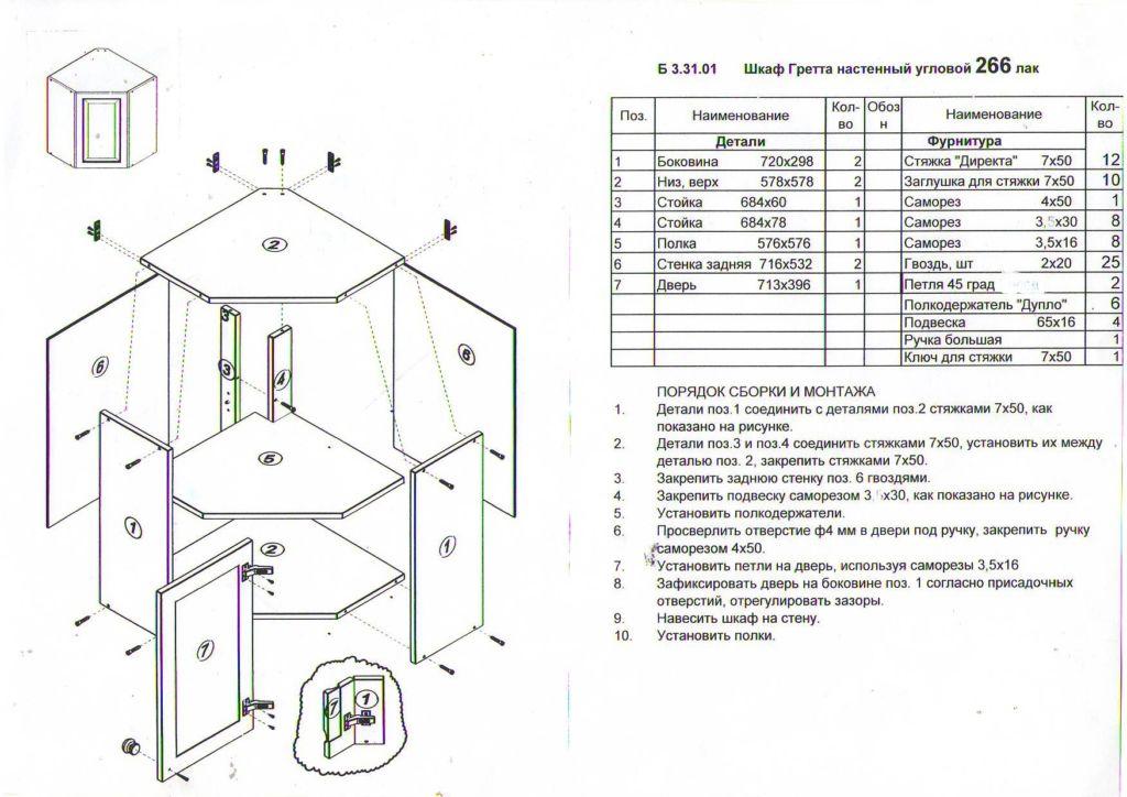 Простая пошаговая инструкция, как собрать угловой шкаф