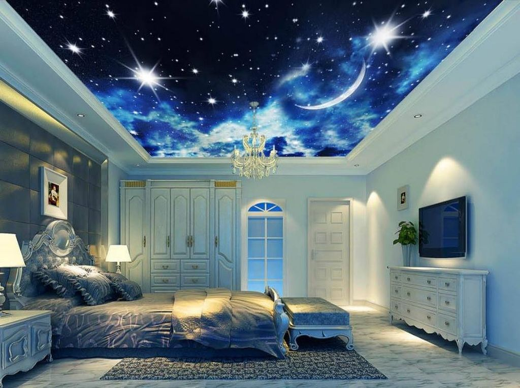 Вариант со звездным небом является необычным и уютным