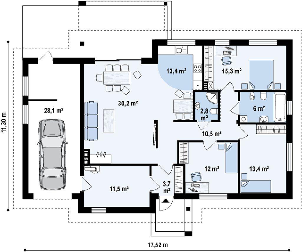 Проект одноэтажного дома с тремя спальнями и гаражом на одну машину