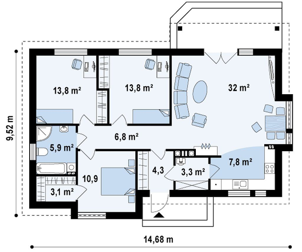 Проект с тремя спальнями и выходом на террасу из гостиной