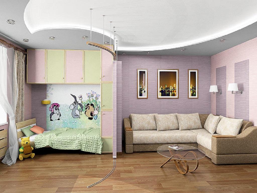 Выделение детской зоны при помощи натяжного потолка